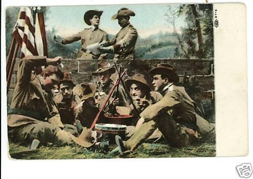 WWI SOLDIERS FLAG IRON POT FIRE UNIFORMS DRUM POSTCARD
