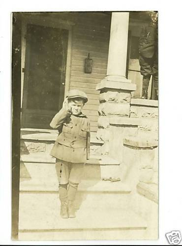 RPPC  BOY ON PORCH STEPS  CUTE OUTFIT  HAT  MAILBOX