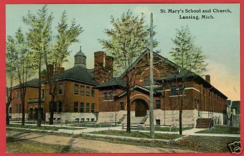 LANSING MICHIGAN MI ST MARY'S SCHOOL CHURCH POSTCARD