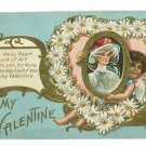 VALENTINE DAISY HEART CUPID WOMAN ART   POSTCARD