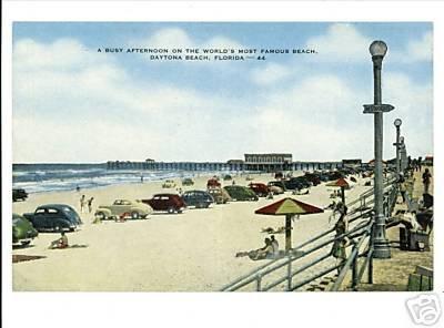 DAYTONA BEACH FLORIDA  BEACH  CARS LINEN POSTCARD