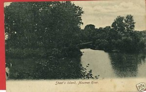 SHEET'S ISLAND MAUMEE RIVER OHIO BARKALOW POSTCARD