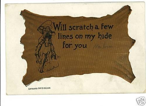 COMIC COWBOY & HORSE COWHIDE 1907 POSTCARD D HILLSON