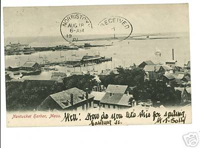 NANTUCKET HARBOR MASSACHUSETTS  MA 1906 POSTCARD
