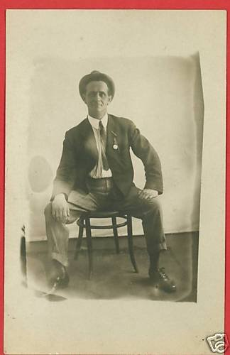 RPPC MAN ON CHAIR POCKET WATCH ON SUIT 1909 RP POSTCARD
