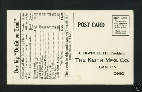 CANTON OHIO OH KEITH MFG CO ADVERTISING SCARF POSTCARD