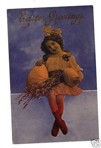 EASTER GIRL ON WALL WITH  LARGE EGGS THEOCHROM POSTCARD