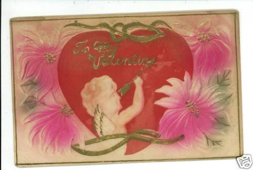 VALENTINE CUPID ARROW RED HEART   POSTCARD