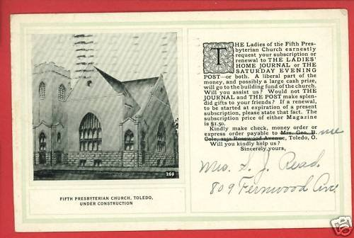 TOLEDO OH 5TH PRESBYTERIAN CHURCH CONSTRUCTION POSTCARD