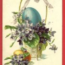 TUCK HAPPY EASTER  EGG IN BASKET 1908 POSTCARD