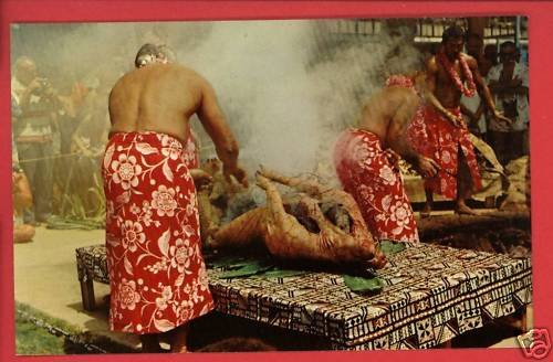 LUAU PIG  HI HAWAII HOG ROAST  POSTCARD