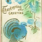 THANKSGIVING BLUE TURKEY VINTAGE POSTCARD