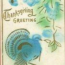 THANKSGIVING BLUE TURKEY VINTAGE POSTCARD