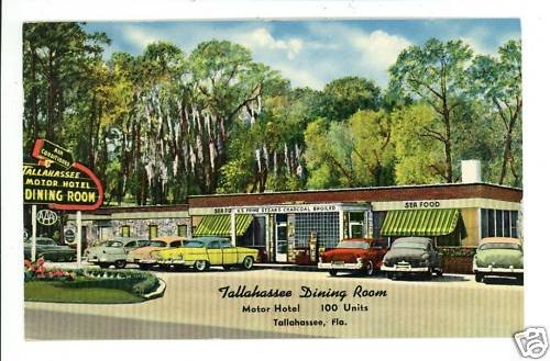 TALLAHASSEE FL FLORIDA MOTOR HOTEL DINING ROOM POSTCARD