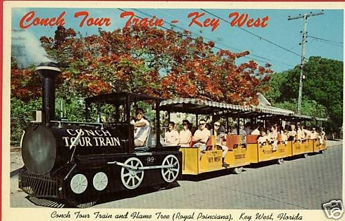 KEY WEST FLORIDA CONCH TOUR TRAIN POSTCARD 1967