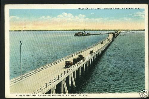 TAMPA FLORIDA FL GANDY BRIDGE WEST END 1925  POSTCARD