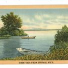 STURGIS MI MICHIGAN GREETINGS FROM 1950 BOATS  POSTCARD