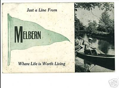 MELBERN OHIO - BANNER PENNANT FLAG 1913 POSTCARD