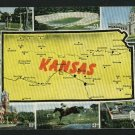 STATE OF KANSAS KS MAP WITH 8 SCENES 1952  POSTCARD