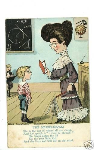 THE SCHOOLMARM SCHOOLMA'AM 1906 OLD MAID POSTCARD