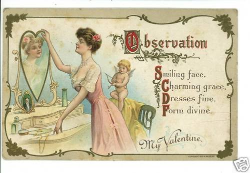 VALENTINE WOMAN LOOKING IN MIRROR WESSLER POSTCARD