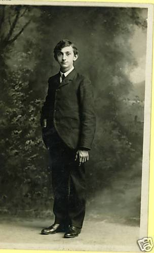 RPPC YOUNG MAN IN SUIT REAL PHOTO POSTCARD 1909