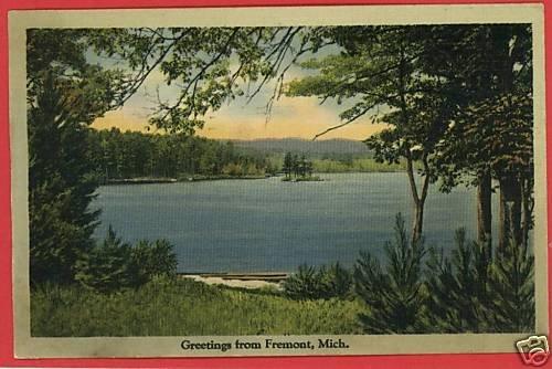 FREMONT MICHIGAN MI  GREETINGS FROM 1940 POSTCARD