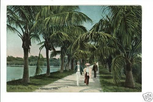 PALM BEACH FL FLORIDA ROCKEFELLER TRAIL POSTCARD