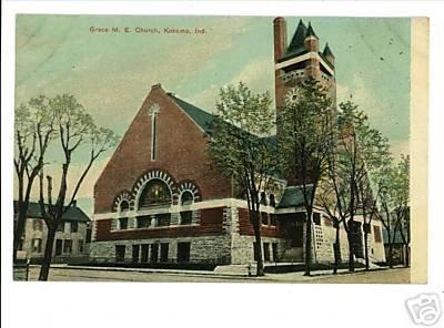 KOKOMO INDIANA IN GRACE M.E. CHURCH  POSTCARD