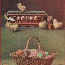 EASTER RAILROAD TRAIN CAR CHICKS EGGS BASKET  POSTCARD