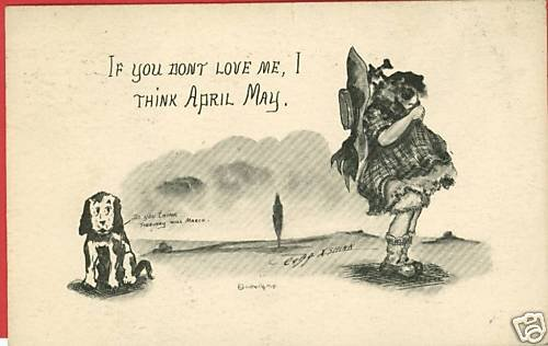 GIRL DOG  FEBRUARY WILL MARCH? COBB SHINN A/S  POSTCARD