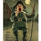 OPEN FACED WATCH GUARD AT NIGHT COMIC   POSTCARD