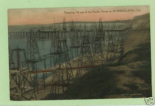 SUMMERLAND CALIFORNIA PUMPING OIL HAND COLORED POSTCARD