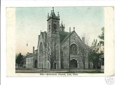 ADA OHIO OH METHODIST CHURCH 1911 POSTCARD DRUG