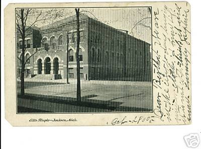 JACKSON Michigan MI ELK'S TEMPLE 1905  POSTCARD