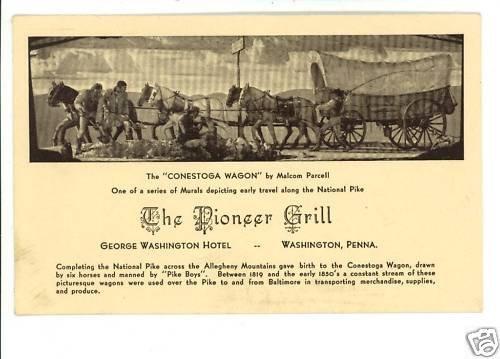 WASHINGTON PA PIONEER GRILL WASHINGTON HOTEL  POSTCARD