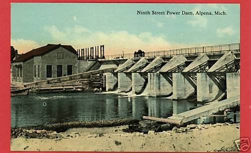 ALPENA MICHIGAN MI NINTH STREET POWER DAM POSTCARD