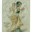 GIFT OF LOVE CUPID WOMAN SATIN  POSTCARD