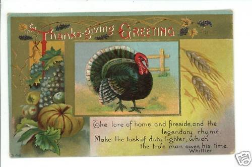 THANKSGIVING GREETING TURKEY WHITTIER POEM  POSTCARD