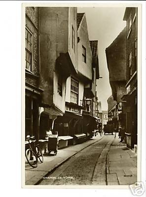 RPPC YORK ENGLAND SHAMBLES BICYCLE COLLIER RP POSTCARD