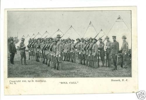 MILITARY ROLL CALL NEWARK NJ GOLDBERG 1905  POSTCARD