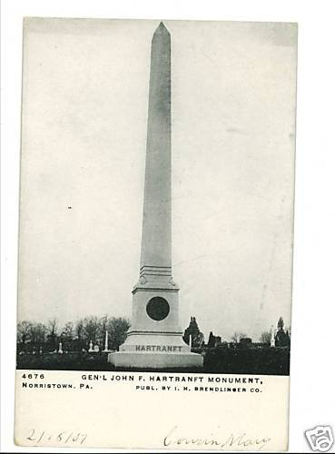 NORRISTOWN PA PENNSYLVANIA  HARTRANFT MONUMENT POSTCARD