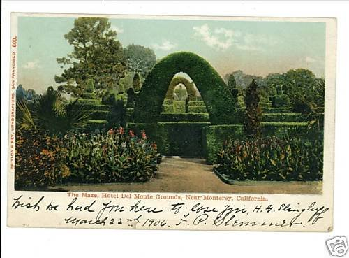 MONTEREY CALIFORNIA 1906 MAZE HOTEL DEL MONTE POSTCARD