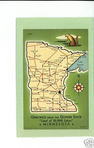 MINNESOTA MAP GOPHER STATE GREETINGS FROM 10,000 LAKES