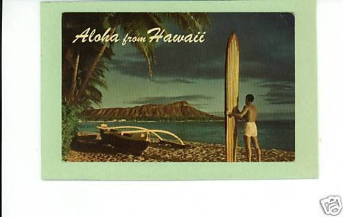 ALOHA FROM HAWAII 1965 POSTCARD SURFBOARD HELBIG