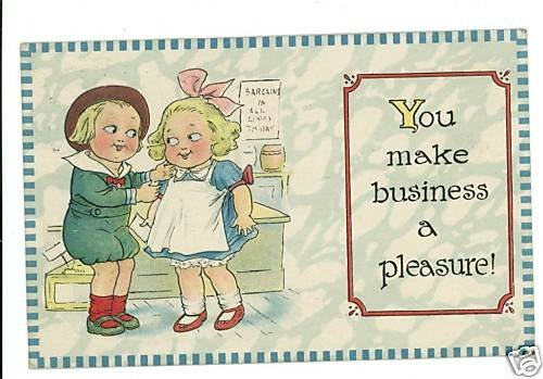 MAKE BUSINESS A PLEASURE BOY GIRL SB 1918  POSTCARD