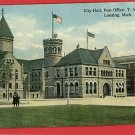 LANSING MICHIGAN MI CITY HALL POST OFFICE YMCA POSTCARD