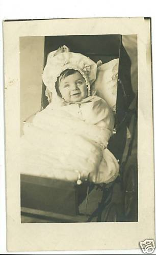 RPPC BABY IN BUGGY HAT BLANKET REAL PHOTO POSTCARD 1912
