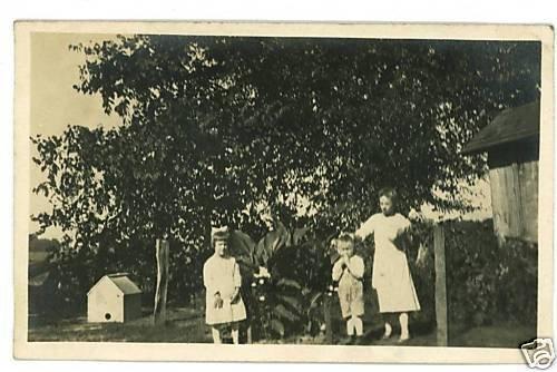 RPPC THREE CHILDREN DOGHOUSE BARN RPPC