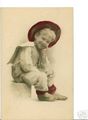 GIBSON ? BOY WITH RED HAT AND STOCKINGS VINTAGE POSTCRD